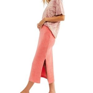 Free People Helen Rib Tube Skirt Prairie Rose XS